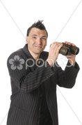 Manager, Business-Punk sucht mit Fernglas Stock Photos