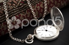 Silver pocket watch Stock Photos
