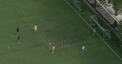 Boys and girls play football on a green field and scores a goal in gates Arkistovideo