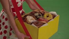 Seller Salesmen donuts Stock Footage