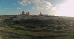 Aerial shot of Mdina Malta Stock Footage