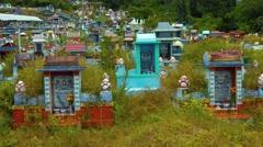 Usage modern Buddhist cemetery. FullHD 1080p video Stock Footage