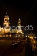 Part of the beautiful Bruehl's Terrrace in Dresden Stock Photos