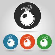 Flat bomb icons set Stock Illustration