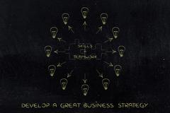 Skills & teamwork, matching puzzle & lightbulbs around Stock Illustration