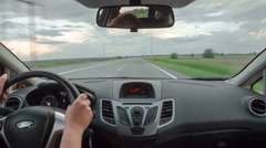 POV back sit view driving a car outside the city on highway, timelapse Stock Footage