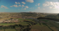 Aerial shot of Mdina from Far Stock Footage