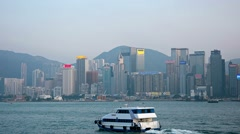 Hong Kong's Waterfront Cityscape with central office buildings Stock Footage