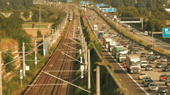 German highway A3 and ICE highspeed railroad track Stock Footage