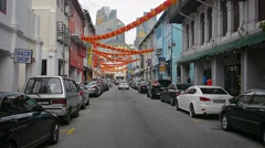 Street in Singapore, decorated with paper lanterns for the Chinese New Year Stock Footage