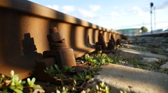 Old railroad rusty bolts outdoors video Stock Footage