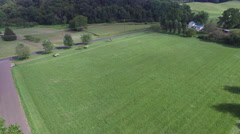 Shenandoah Valley Virginia Tractor Mowing a Field Aerial Footage Stock Footage