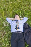 Manager auf der Wiese Stock Photos
