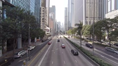 Static shot. Highway in the city center. Hong Kong Stock Footage
