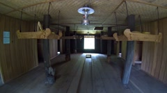 Interior of a traditional Sumatran house, with wood and amakan, Indonesia Stock Footage