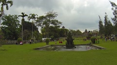Beautiful, decorative fountain on grounds of Taman Ayun Royal Temple in Bali Stock Footage