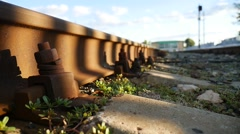 Old railroad rusty video bolts outdoors Stock Footage