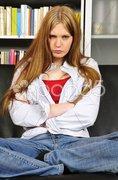 Weiblicher Teenager ist sauer und frustriert Stock Photos