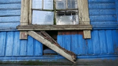 Old abandoned house window broken video Stock Footage