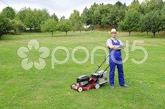 Der Rasenmäher Mann Stock Photos