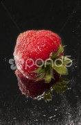 Einzelne Erdbeere vor dunklem Hintergrund Stock Photos