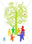 Bunte Gruppe um Baum Stock Photos