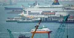 Ship traffic in Hong Kong harbour Stock Footage