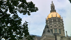 CT State Capital with trees Stock Footage