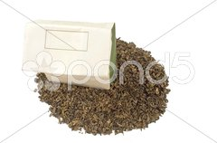 Bag of green tea Stock Photos