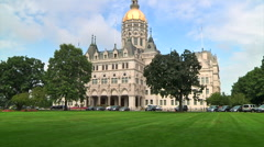 CT State Capital with green grass Stock Footage