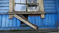 Old abandoned house video window the broken Stock Footage
