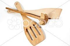 Küchengeräte aus Holz Stock Photos