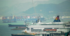 View to Hong Kong harbour with passenger and cargo ships Stock Footage