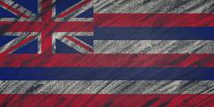Hawaii flag painted with colored chalk on a blackboard. Stock Illustration