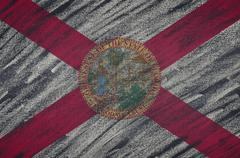 Florida flag painted with colored chalk on a blackboard. Stock Illustration