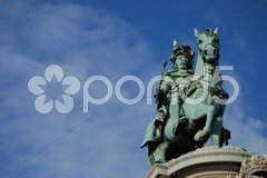 Monument of the portuguese king Dom Jose I. at the Praca do Comercio in Lisbon Stock Photos