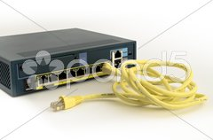 Ethernet firewall and cable Stock Photos