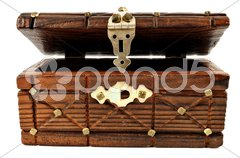 Wooden treasure chest Stock Photos