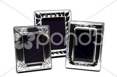 Three silver carved frame isolated on white Stock Photos