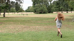 Caucasian Teen Woman Running In Park Grey Dress And Sandals Stock Footage