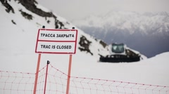 Nameplate with sign truck is closed. Ski resort. Snowy mountains Stock Footage