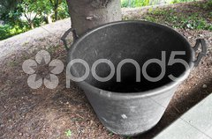 Empty gardening container for collect grass and dropped leaf Stock Photos