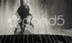 Detail of the fountain on the Piazza della Repubblica in Rome Stock Photos