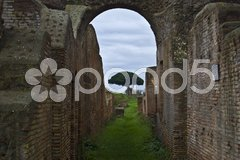 Part of the beautiful archaeological site in Ostia Antica near Rome Stock Photos