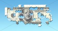 100 dollar puzzle Stock Photos