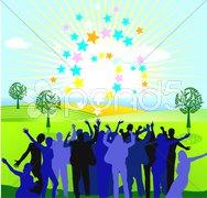 Jubel mit Sonne und Sternen Stock Photos