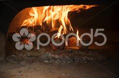 Italian traditional pizza  wood oven Stock Photos