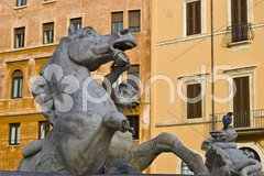 Detail of the fountains on the roman Piazza Navona Stock Photos
