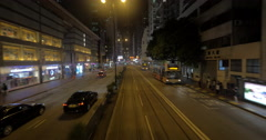 View to Hong Kong from moving double-decker tram Stock Footage