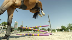 SLOW MOTION: Young rider girl jumping the fence and horse knocks the pole down Stock Footage